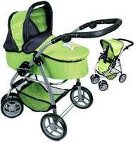 Kočárek Boncare M4 pro panenku miminko hluboký zelený s motýlkem 4v1