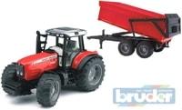 BRUDER 02045 (2045) Traktor MASSEY FERGUSON + sklapěcí vůz - červený