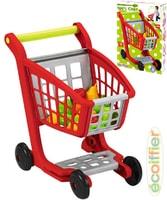 Set vozík nákupní + ovoce a zelenina makety potravin plast