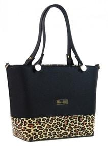 da8a864ba5b Černá elegantní dámská leopardí kabelka S746 GROSSO