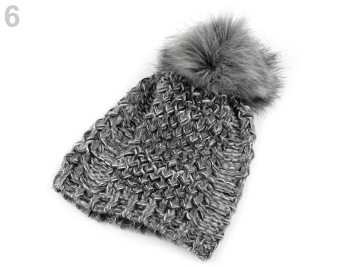 Zimní pletená čepice s bambulí  8c73b13588