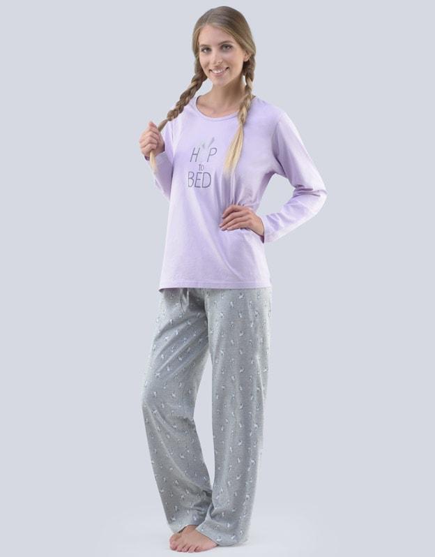 Dámské pyžamo dlouhé s potiskem Pyžama 2018 19075P. hortenzie sv. šedá - M 82ca11a0d8