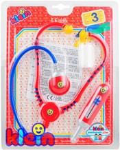 Doktorka set stetoskop s doplňky dětské lékařské potřeby na kartě