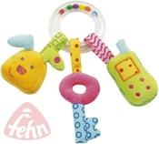 Chrastítko plyšové baby kroužek s přívěsky Zvuk pro miminko