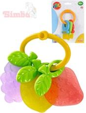 Baby kousátko klíče/ovoce plastové 2 druhy pro miminko na kartě