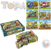 Kostky (kubus) Dopravní prostředky 12 ks v krabičce