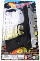 Pistole dětská na setrvačník 20cm policejní plastová na kartě