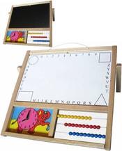 Tabule dětská závěsná/stolní na křídy i fixy s počitadlem a hodinami naučná