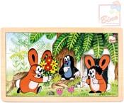 Puzzle (Krteček) Krtek a zajíčci 15 dílků skládanka v rámečku