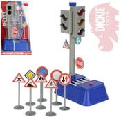 Semafor funkční 24cm na baterie set s 8 dopravními značkami na kartě