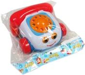 Baby telefon tahací dětský se šňůrkou na kolečkách obličej plast
