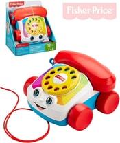 Baby telefon klasický tahací s obličejem pohyblivé oči pro miminko