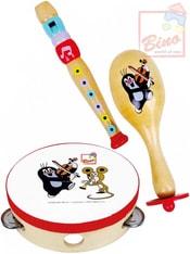 Sada hudební nástroje 3ks KRTEK (Krteček) flétna rumbakoule tamburina