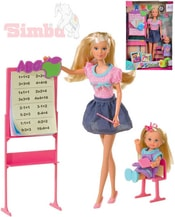Set panenka Steffi učitelka 29cm + Evička školačka 12cm s doplňky