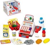 Pokladna dětská registrační 19cm set s penězi a potravinami na baterie plast
