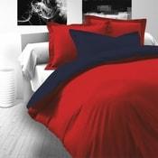 Saténové povlečení LUXURY COLLECTION 240x200, 70x90cm červené / tmavě modré