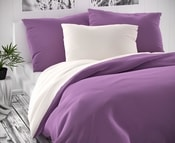 Saténové povlečení LUXURY COLLECTION 140x200, 70x90cm bílé / fialové