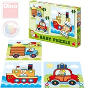 Puzzle baby autíčka 18x18cm 3v1 skládačka set 12 dílků v krabici pro nejmenší