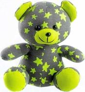 Baby medvídek svítící ve tmě 21cm šedo-žlutý s hvězdičkami fosforeskující