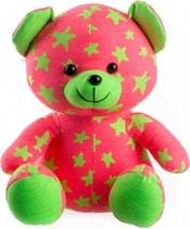 Baby medvídek svítící ve tmě 21cm růžovo-zelený s hvězdičkami fosforeskující