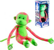 Baby opička svítící ve tmě 45cm růžovo-zelená s hvězdičkami fosforeskující