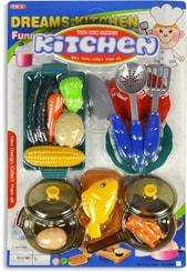 Dětské nádobí kuchyňský plastový set s potravinami a nástroji 20ks na kartě