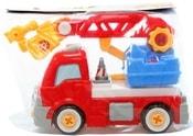 Auto plastové hasičské 23cm šroubovací set se 2 nástroji k sestavení v sáčku