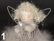 Anděl s peřím 10cm závěs
