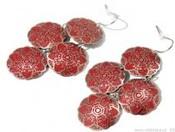 Náušnice kovové SÁRA 4 KRUHY ornamenty (1 pár)
