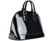 Elegantní extra lakovaná kabelka Grosso S24 černá nero do ruky