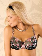 Luxusní nevyztužená podprsenka Opal Soft černá s růžovou výšivkou