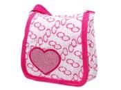 Taška dětská textilní 15x15cm se srdcem přes rameno