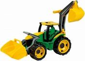 Traktor se lžící a bagrem zelenožlutý