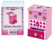 Skříňka na šperky růžová 2 šuplíky