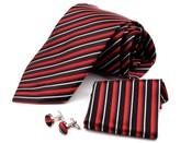Saténová kravata s kapesníkem a manžetovými knoflíčky