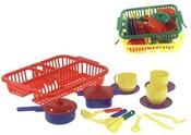 Nádobí dětské do kuchyňky s odkapávačem 3 barvy