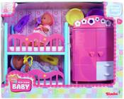 Dětský pokoj + 2 panenky (pije + čůrá) 12 cm
