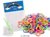 UDĚLEJ SI NÁRAMEK Gumičky LOOM 200 ks a doplňky Set v sáčku MIX barev