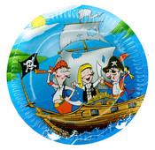 Talíře papírové s pirátem 6 ks v sáčku