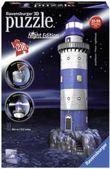 RAVENSBURGER Puzzle 3D Maják v příboji Noční edice 216 dílků