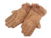 Dámské kožené rukavice s kožešinou
