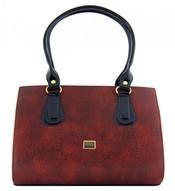 Proplétaná hnědá luxusní kabelka na rameno S61