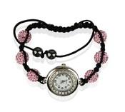 Náramek s hodinkami Shamballa LSB0018 růžový