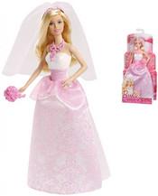 BARBIE BRB Panenka nevěsta s kyticí v růžovo bílých šatech
