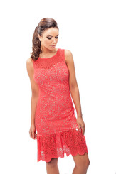 Letní růžové krajkové šaty 190058