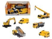 Set stavební auta 3 kusy a dopravní značky v krabici 3 druhy