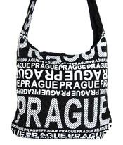 Moderní crossbody taška PRAGUE s bílým potiskem