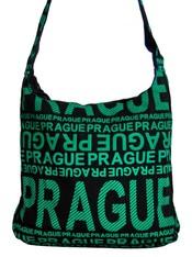 Moderní crossbody taška PRAGUE se zeleným potiskem