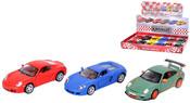 Auto Porsche kov 3 druhy 2 barvy zpětný chod