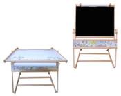 Dětská školní tabule FILIP II. na křídu fix s papírem + stolek MAGNETICKÁ